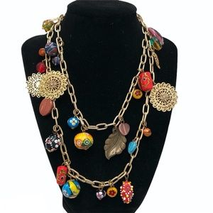 MILLEFIORI, MURANO GLASS & CHARMS GOLD LONG NECKLACE